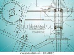 Blueprints. Mechanical construction. Technical Design. Engineering illustrations. Banner. Light blue    #bubushonok #art #bubushonokart #design #vector #shutterstock  #technical #engineering #drawing #blueprint   #technology #mechanism #draw #industry #construction #cad