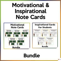 This bundle of notecards is a great way to promote a happy and healthy classroom environment and a great way to look after the well-being of your students.This bundle includes:* 50 Motivational Note Cards* 60 Inspirational Note CardsA. Motivational Note CardsSchool can sometimes be overwhelming for ... School Resources, Classroom Resources, Classroom Organization, Classroom Management, Classroom Environment, Learning Environments, Getting To Know You, My Teacher, Note Cards