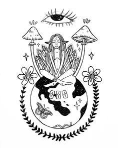 Mini Tattoos, Body Art Tattoos, Art Drawings Sketches, Tattoo Drawings, Hippie Painting, Indie Art, Tattoo Flash Art, Funky Art, Psychedelic Art