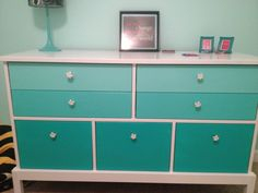 Possible re-do of her old dresser? Ombré dresser for tween bedroom