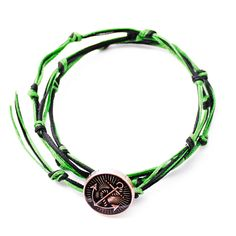RAVE Mens Green Black Knotted Bracelet with Silver Black Anchor Button in Wax Cord and Metallized Poly Size Adjustable to Necklace and Anklet