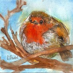 """Daily Paintworks - """"4x4 Fat Robin Bird Watercolor Pen and Ink Illustration Painting by Penny StewArt"""" - Original Fine Art for Sale - © Penny Lee StewArt pennyleestewart.com"""