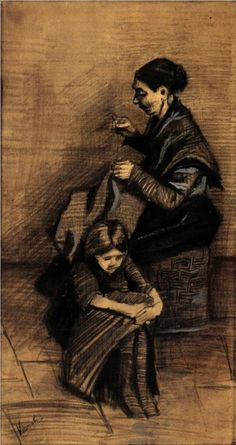 Woman Sewing, with a Girl - Vincent van Gogh, 1883