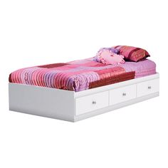 Crystal Mates Bed with 3 Drawers, Pure White, 39''