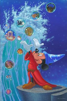 Magical Sea Embellished Giclee on Canvas by Manny Hernandez captures not only the magic of Mickey as the sorcerer's apprentice, but of all of Fantasia. Hades Disney, Walt Disney, Disney Love, Disney Magic, Disney Pixar, Disney Characters, Minnie Mouse, Mickey Mouse And Friends, Disney Mickey Mouse