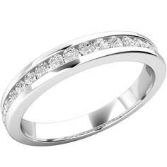 A stunning Round Brilliant Cut diamond set wedding ring in 18ct white gold