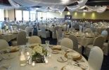 www.RockwoodsGrill.com, Otsego MN, White & Gold Wedding, Ivory & Gold Wedding, Gold Plate Chargers, Floral Centerpieces, Chair Covers, Ceiling Draping, Full Place Settings