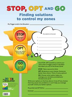 Zones STOP, OPT and GO (dry erase) – Poster gives students an easy-to-remember phrase and visual to help them before they act on an impulse. Elementary Counseling, Counseling Activities, Therapy Activities, School Counseling, Therapy Worksheets, Zones Of Regulation, Emotional Regulation, Self Regulation, Coping Skills