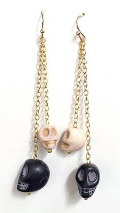 Hanging Black and White Skulls