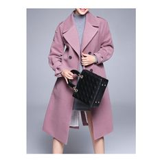 SheIn(sheinside) Pink Lapel Tie-Waist Pockets Coat ($104) ❤ liked on Polyvore featuring outerwear, coats, pink, purple coat, knee length coat, lapel coat, pink coat and double-breasted coat