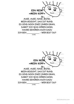 Mein Körper – ein Reim My body – a rhyme -> let individual small groups rhyme one verse for a body poem on the subject of body Kindergarten Portfolio, German Language Learning, Learn German, Lip Service, Small Groups, Kids And Parenting, Literacy, Preschool, Teaching