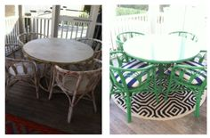 Before and after porch furniture makeover in Charleston via Haskell Harris @magpiebyhaskellharris.blogspot.com  #samsidney