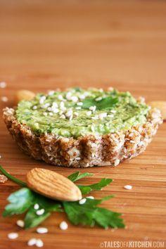 Pesto and avocado fresh mini tarts