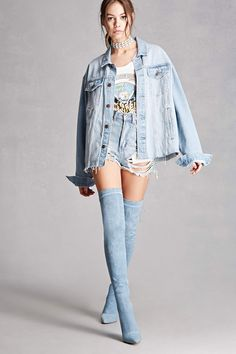 A pair of denim over-the-knee boots featuring a lace-up back with high-polish studs, pointed toe, and a stiletto heel. This is an independent brand and not a Forever 21 branded item.
