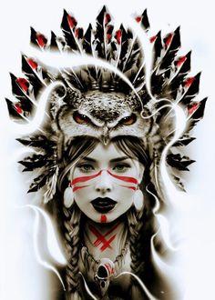 Native American Tattoos, Native Tattoos, Native American Girls, American Indian Art, 4 Tattoo, Tattoo Drawings, Body Art Tattoos, Tattoo Sleeve Designs, Sleeve Tattoos