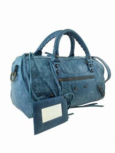 98814d2df2 Balenciaga Lambskin Leather Motorcycle Twiggy Bag Blue | Consigned Designs  - Luxury Consignment!