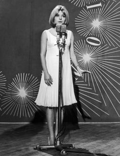 France Gall sings for Luxembourg in The Eurovision Song Contest. Naples, Italy 1965