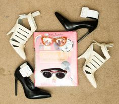 White Shoes, Alexander Wang; Black Shoes, Yves Saint Laurent; Pink Sunglasses, Miu Miu; Striped Sunglasses, Illesteva
