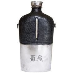 1890s Large James Dixon & Sons Silver-Plate Hip Flask ($225) ❤ liked on Polyvore featuring home, kitchen & dining, bar tools, decanters, monogrammed flask and black flask