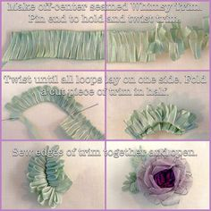Sewing Fabric Flowers Free How-To make Whimsy Flower leaves! from Kari Mecca of Kari Me Away - Ribbon and Fabric Flower making have never been so easy! Whimsy stick tools for flower making by Kari Mecca of Kari Me Away Ribbon Art, Fabric Ribbon, Ribbon Crafts, Flower Crafts, Ribbon Bows, Ribbon Flower, Ribbons, Handmade Flowers, Diy Flowers