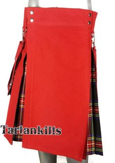 Red & Black Stewart Hybrid Detachable Pockets Kilt Irish Tartan, Tartan Kilt, Pride Of Scotland Tartan, Douglas Tartan, Wallace Tartan, Mackenzie Tartan, Kilts For Sale, Royal Stewart Tartan, Tartan Fabric