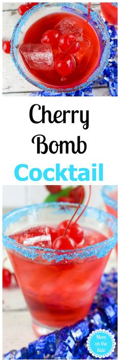 This Thirsty Thursday is a drink perfect for adult 4th of July parties! The Cherry Bomb Cocktail is light and refreshing with a touch of alcohol. via @momontheside
