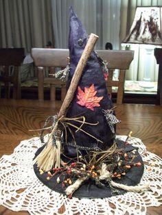 Primitive Fall Witch Hat Shelf Sitter by HarmonyTwentyOne on Etsy, $22.50