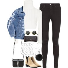 A fashion look from November 2015 featuring Calvin Klein Collection sweaters, AG Adriano Goldschmied jeans and Acne Studios ankle booties. Browse and shop rela…