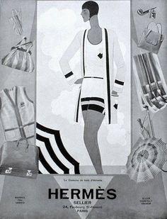 Hermès - 1929 - De Bain Swimwear Ad - @~ Watsonette - Art Déco