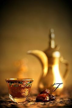 Tea and dates - such romantic coloring in this picture -
