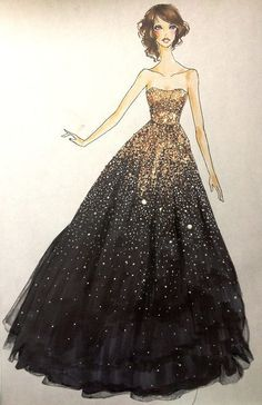 gold and black ball gown...