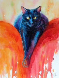 ARTFINDER: Red Sofa - Black Cat Watercolour by Denise Laurent - ..