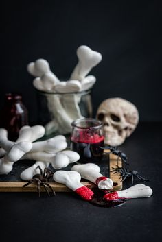 Save this to make Blood-Soaked Meringue Bones for your Halloween party.