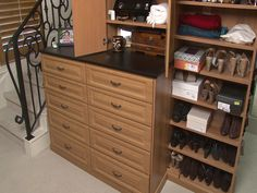 Adding a granite top to a bank of drawers is an added touch.