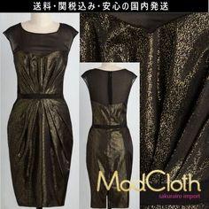★モドクロス modcloth ゴールド 黒 ブラック ドット 結婚式 パーティ タイト シアー ワンピース ドレス