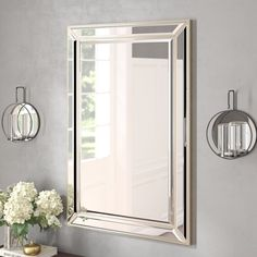 New Tutuala Traditional Beveled Accent Mirror by Darby Home Co Home Decor Furniture. offers on top store Silver Wall Mirror, Vanity Wall Mirror, Frameless Mirror, Mirror Tiles, Round Wall Mirror, Wood Mirror, Bathroom Mirrors, Master Bathroom, Bathrooms
