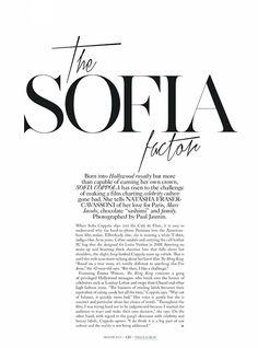 {fashion inspiration | editorial : the sofia factor}