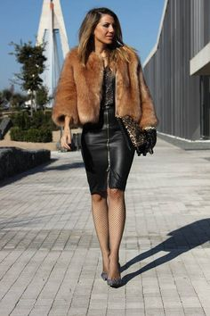 love! been looking for a leather dress. love it with the fur too