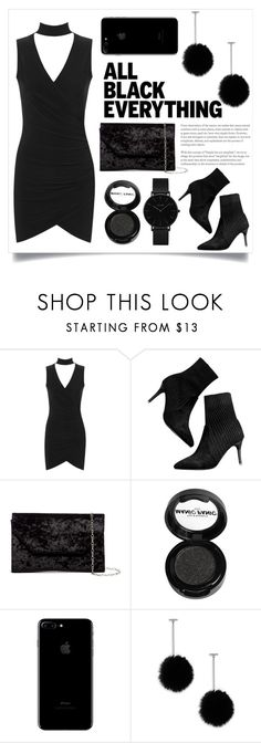 """""""glamour black"""" by ayashazeta ❤ liked on Polyvore featuring WearAll, Halogen, Manic Panic NYC, tuleste market and CLUSE"""