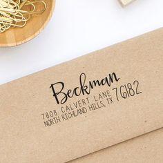 round custom address stamp personalized return address wooden