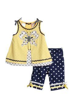 Baby Togs Newborn Girls (0-9mo) 2pc yellow/navy « Clothing Impulse