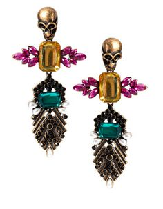 Don't be afraid to STAND OUT: Skulls and Crystal Statement Earrings www.facebook.com/manilahjewelry