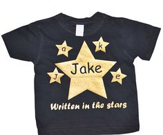 Personalised Boys T-Shirt With Gold Glitter Stars Glitter Stars, Gold Glitter, Boys T Shirts, T Shirts For Women, Design, Fashion, Moda, Fashion Styles