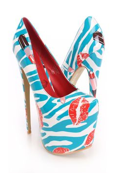 You will be head over heels for these saucy little numbers! They will perfectly compliment any outfit for any occasion! Make sure to add these to your collection, they definitely are a must have! The features for these heels include a patent faux leather upper in a platform pump design, scoop vamp, zebra, lip, and lipstick print, stitched semi pointed closed toe, smooth lining, and cushioned footbed. Approximately 7 inch heels and 3 inch hidden platforms.http://www.amiclubwear.com/shoes.html