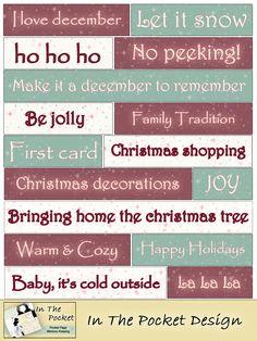Before Christmas knipvelletje - Freebie In The Pocket Design Christmas Words, Christmas Albums, Christmas Stickers, Project Life Album, Project Life Cards, Word Collage, Christmas Journal, Handmade Scrapbook, Vintage Christmas Images