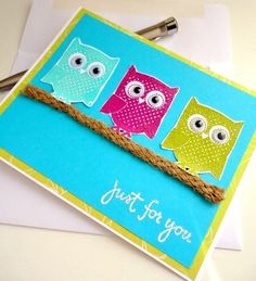 OWL Greeting Card Just For You Blank Inside Stamp by stephanieh02,