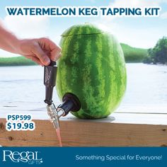 """WATERMELON KEG TAPPING KIT  Shank and faucet combo is easily installed into a standard, hollowed-out watermelon or pumpkin and will provide hassle-free dispensing for all your premium cocktail creations. Kit includes: Coring Tool (8""""L) and 2 piece faucet tap (6-1/2""""L)."""