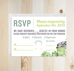 Succulent Theme Wedding RSVP Card