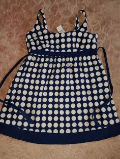 Motherhood Maternity Dress Navy Blue White Polka Dots XL New #MotherhoodMaternity #EmpireWaist #Casual