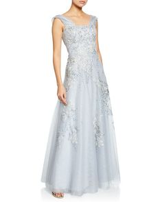 b46379a5a4 Rickie Freeman For Teri Jon Off-the-Shoulder Cap-Sleeve Beaded Tulle & Lace  Metallic Gown